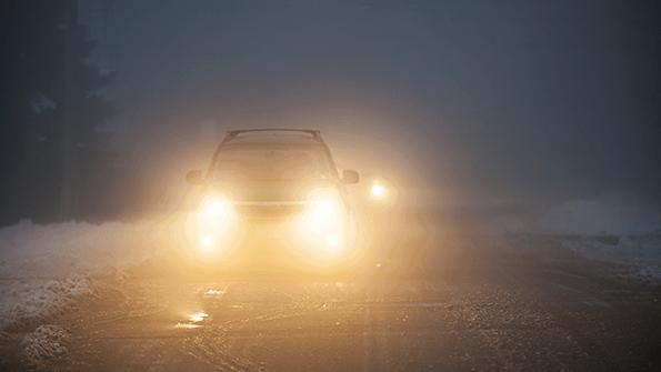 halogen headlights at night