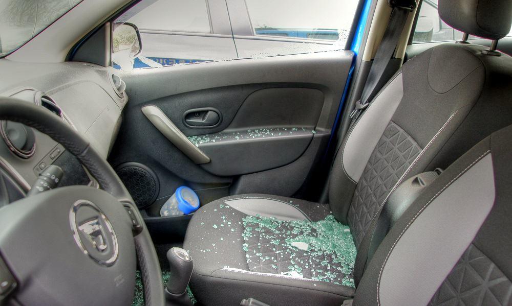 broken car window interior