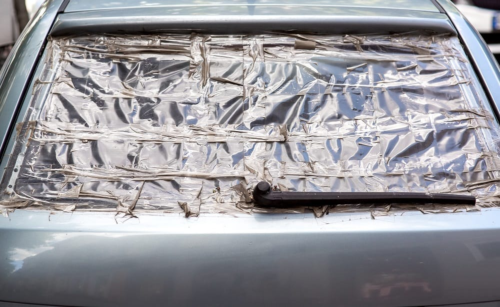 cover broken rear windshield